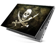 "17"" Laptop Notebook Skin Sticker Cover Decal Art Skull Knife Black pirate flag"
