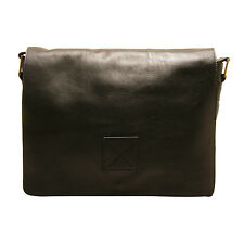 Ashwood - Black Pedro Laptop Compatible Messenger Bag in Cow Antique Leather