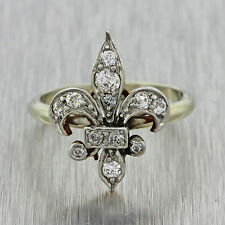 1930s Antique Art Deco Estate 14k Yellow White Gold Platinum Fleur De Lis Ring