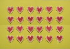 24 Pink Embroidered Lace Heart Appliques (Bulk) - EB3