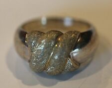STERLING SILVER BRUSH RIBBED TOP RING SIZE 7