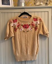 VTG RETRO Knitted top T-shirt 90'S 8 10 12 14 YELLOW mustard M&S floral BOHO