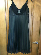 Black Pleated chiffon Party Dress - Size 10-12 - lined/sheer - cocktail - 99p