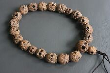 22 CARVED NUT Tibetan Chinese Buddhist HUGE Skulls Mala prayer beads