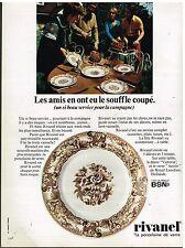 Publicité Advertising 1972 Assiette la Porcelaine Rivanel par BSN