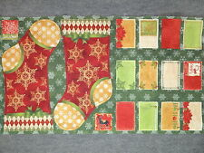 "Christmas Stocking & Cards Quilting Fabric 25"" Panel  #3105"