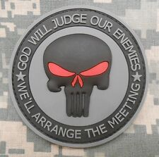 PUNISHER RUBBER PVC GOD WILL JUDGE OUR ENEMIES ACU VELCRO® BRAND FASTENER PATCH