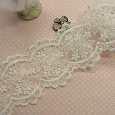 Vintage Style Embroidery Double Edged Fabric Tulle Lace Trim Floral 8.5cm WD 1yd