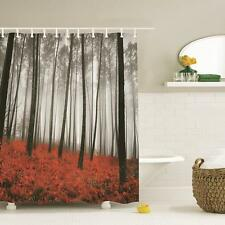 Art Foggy Scene Printed  Mystic Forest Trees Red Grass  Fabric Shower Curtain