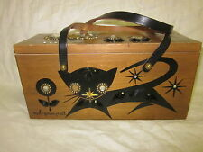 Enid Collins Owl and Pussycat Wood Box Purse w/ Rhinestones Signed