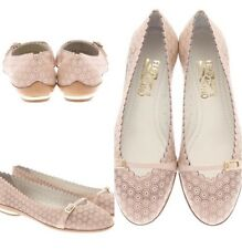 Pre-Owned Salvatore Ferragamo Audrey Macaron Perforated Leather Flats US 6.5