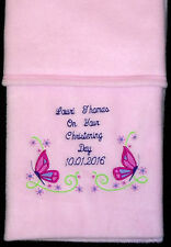 New Personalised Baby Blanket, Butterfly & Flowers  Pink Christening Gift Girl