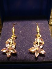 LOVELY TANZANITE DROP EARRINGS IN 14K GOLD OVERLAY S/SILVER 1.75CTS