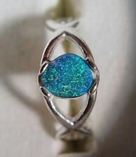 Sterling ring bright blue, green, teal  0.53 carat natural Australian Black Opal