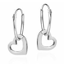 Sweet Love Dangle Heart .925 Sterling Silver Hoop Earrings