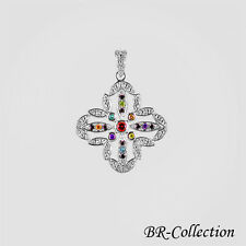 Sterling Silver Pendant with Multi Colored CZ Stones