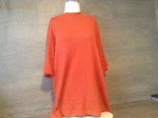 C.S.T. Sport RUST Knit Short Sleeve RIBBED MOCK TURTLE Top Women 1X Plus