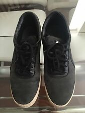 ALEXANDER MCQUEEN BY PUMA Black Leather Sneakers White Rubber Sole Size 8 Retail