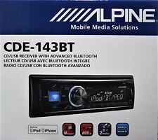 Alpine CDE-143BT CD/MP3/AUX/USB/BLUETOOTH RECEIVER BRANDNEW
