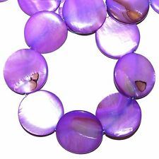 MPX1598L 10-Strand Purple Fuchsia Mother of Pearl 30mm Flat Round Shell Bead 16""