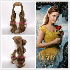 2017 NEW MOVIE Beauty and the Beast Princess Belle long wavy brown Cosplay Wigs