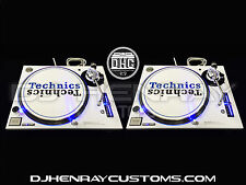 2 white powder coated Technics SL1200 mk5 with blue leds halos dj turntables