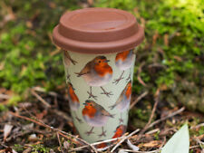 INTO THE WILD Insulated Porcelain CHRISTMAS ROBIN TAKEAWAY TRAVEL MUG