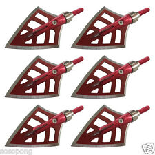 6PCs Red Devils Broadheads 125 Grain Arrowheads 4 Blade Outdoor Hunting Archery