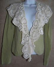 Beautiful Green Anthropologie Moth Cardigan w/Large Embellished Crochet Collar S