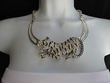 A WOMEN SILVER CHAIN BIG TIGER BODY PANTHER METAL FASHION NECKLACE + EARRINGS