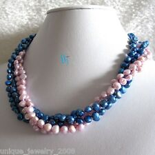 """18"""" 5-6mm 4Row Pink Blue Baroque Freshwater Pearl Necklace E UJ"""
