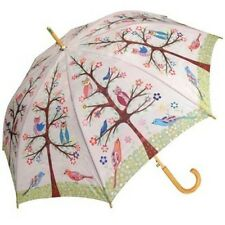 "Sascalia Owls Birds Tree Flowers Wooden Cane Auto Open Umbrella 48"""