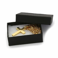"Stainless Steel Mini Gold Plated Cross Plain Pendant 3mm 24"" Miami Cuban Chain"