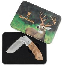 "Browning Whitetail Limited Edition 3"" Knife Gift Set / Tin Burl Wood Handle NEW"