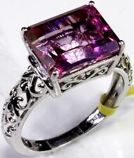 Pure Pink Mystic Topaz Ring Platinum Overlay Sterling Silver (Size 7) TGW 6.0 Ct