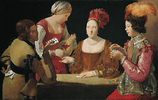 Oil painting Georges de La Tour Young women and man playing card free shipping