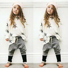 ^2Pcs Kid Long Sleeve Baby Boys Girls StarT-shirt Tops+Pants Outfits Clothes 120