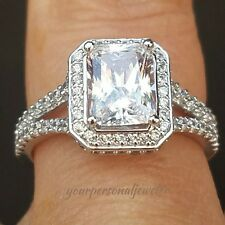 3.5 carat 14k white Gold Emerald Cut man made diamond Engagement Ring S 5 6 7 8