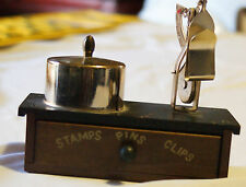 VINTAGE POSTAL LETTER SCALE & STAMP ROLL HOLDER CUTE WOOD STAND WITH DRAWER