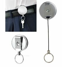 Retractable Key Ring Chain Stainless Recoil Belt Clip Pull Metal Ski ID Holder