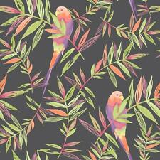 RASCH PARROTS BIRD PATTERN TROPICAL LEAF LEAVES PAINTED MOTIF WALLPAPER ROLL