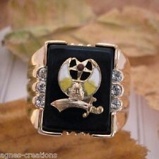 """AGNES CREATIONS / BAGUE CHEVALIERE   """"ISLAM""""  PL/OR ONYX & ZIRCONIUM TAILLE 70"""
