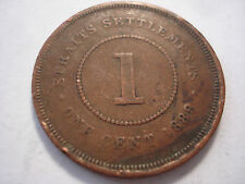 Straits Settlements 1889 1 Cent Copper Coin