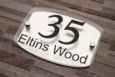House Number Brushed Aluminium Modern  Plaque wall sign