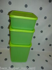 Tupperware Square Rounds Storers Containers Set of 3 Lime Green New