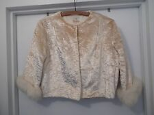 NICE! Vtg. CREAM Huge FOX Cuffs FUR Velvet BROCADE Topper BOLERO Coat JACKET S M
