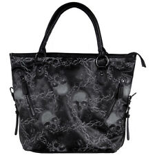 Women's Iron Fist Urban Decay Tote Bag Black Skull Barbed Wire Punk Goth