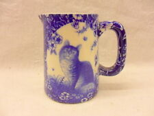 Blue victorian cat chintz mini cream jug pitcher by Heron Cross Pottery