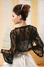 New Black Bridal Long Lace Bolero Jacket Shawl Wraps Cape Pashmina Wedding Dress
