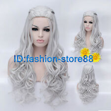New Daenerys Targaryen Dragon Princess Game of Thrones Braids Gray cosplay wig